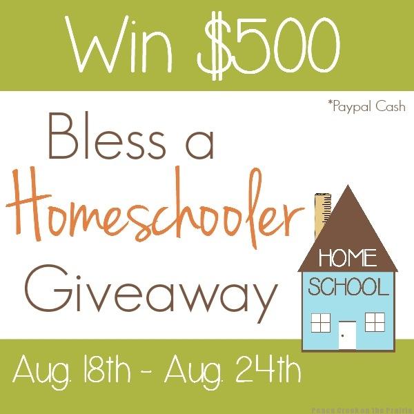 Bless a Homeschooler $500 Giveaway