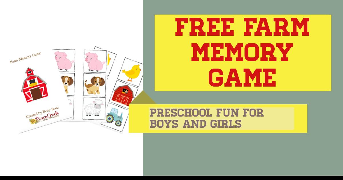 FREE Farm Memory Game