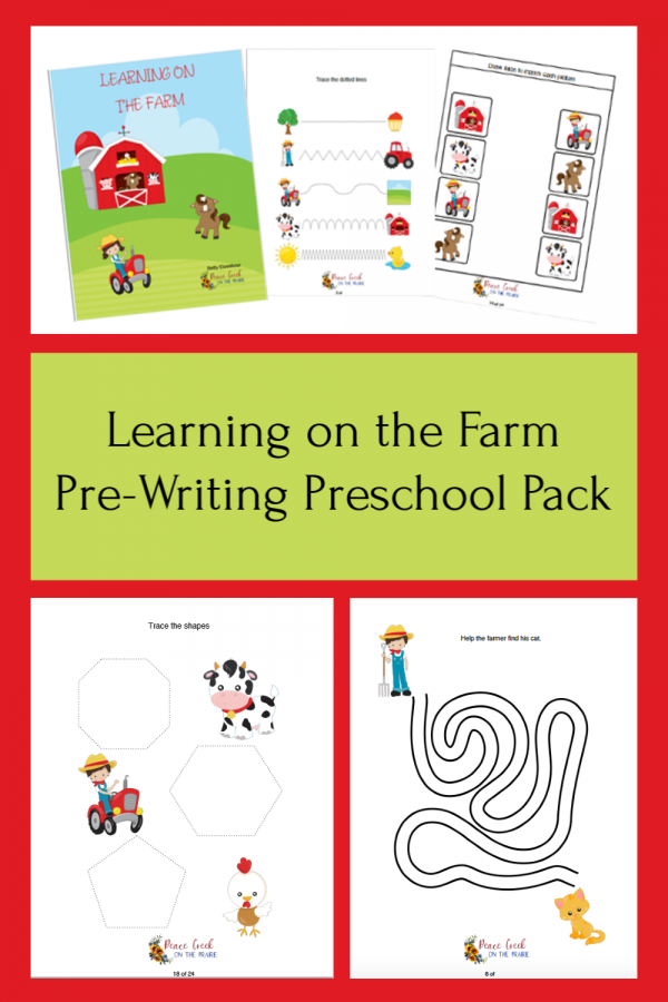 Learning on the Farm Pre-Writing Preschool Pack This pack is full of tracing, mazes, pathes, puzzles, matching and more to help your young child develop pre-writing skills needs to learn nice handwriting. With the fun farm theme, they will hardly know they are learning.