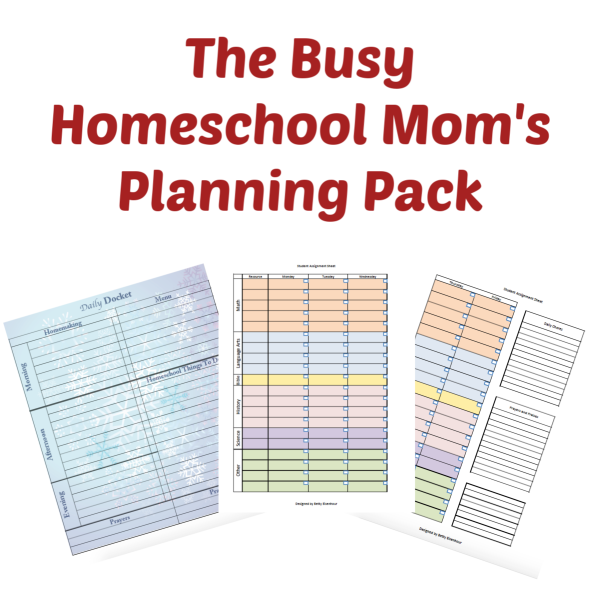 Busy Homeschool Mom's Planning Pack has 20 different planners to help you stay organized in nearly every area of your home and homeschool. There are pages for moms, and children alike. Every planner was designed first for use in our family.